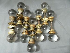 7 Sets Rare Antique Clear Crystal Ball Door Knobs w Barrels light wear