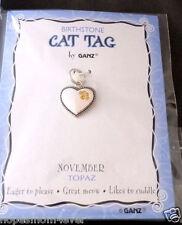 Nip Ganz Birthstone Cat Tag Charm Heart w/ Paw Shape Stones Nov/Yellow *Bogo 50%