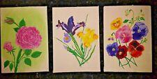"""THREE VINTAGE 5"""" X 7"""" FLOWERS ON CANVAS OIL PAINTINGS"""
