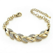 Women Exquisite Rhinestone Crystal Gold Bracelet Adjustable Bangle Cuff Jewelry@