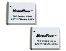 2x Battery for CANON NB-4L NB4L PowerShot Digital IXUS IXY 750mAh