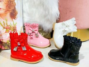 KIDS GIRLS INFANTS FLAT SPANISH DIAMNTE BOW SATIN PATENT WINTER ANKLE BOOTS SZ