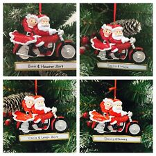 PERSONALISED CHRISTMAS TREE DECORATION/ ORNAMENT MOTORCYCLE COUPLE JUST FAB