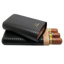 Cohiba Carbon Fiber Leather Wooden  3 Tube Cigar Case Travel Holder