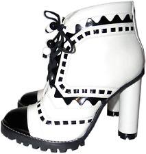 $790 Sophia Webster Ankle Black White 'Riko Tread' Boots Cap Toe Heel Shoes