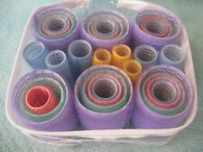 SET 31 VELCRO SELF GRIP HAIR CURLERS ~ ROLLERS in ZIPPERED TRAVEL STORAGE CASE