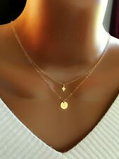 Layered Necklace, 14k Gold Filled Tiny Cross And Initial Disc Necklace