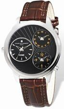 Mens Charles Hubert 44mm Triple Time Stainless Leather Band Watch