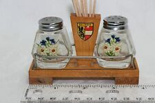 Salt & Pepper Set from Salzburg Germany w/Wooden Base
