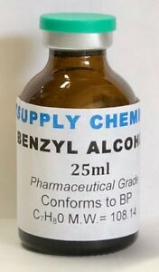 BENZYL ALCOHOL 25ml 99.8% Pharmaceutical Grade - Conforms to BP Crystal clear