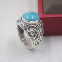 New 925 Sterling Silver with Natural Turquoise Oval Lady Ring Size:5-10