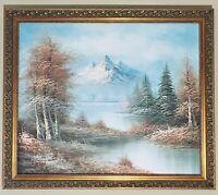 Marvelous Original Oil Painting Landscape Mountain And River Signed Framed