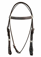 Western Dark Oil Silver Spot Studded Rawhide Braided Headstall