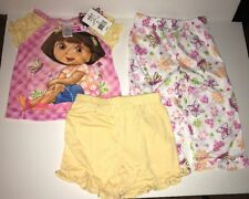 DORA THE EXPLORER Girls' 3-Pc Pajama Set Top/Pants/Short Size 2T Sleepwear NWT