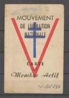 Carte de membres actif(Manzat/Puy-de-Dôme), Mouv. de libération Nationale X3880