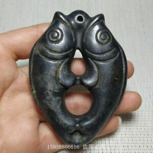 Chinese Red mountain culture collection meteorite carving  Double fish Pendant