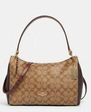 Coach Mia F80324 Signature Mix Leather Convertible Shoulder Bag in Khaki Multi