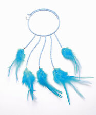 BLUE BEAD & FEATHER STRETCH CHOKER WITH DROP PENDANT FOR IBIZA CHIC STYLE(ZX43)