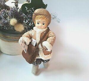Spun Cotton Ornament Postman Doll 100% Handmade Christmas Tree Toy.