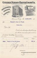 U.S. Illustrated Cutler & Neilson Paint & Color Co. Kansas 1901 Invoice Rf 40243