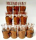 Set 10 Vintage Texas Roundup M&M Hi Ball Glasses Cattle Brand Leather Wrap RARE!