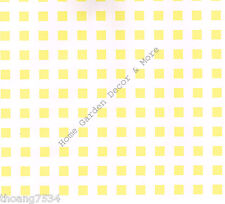 Yellow White Gingham Check Square Vinyl Contact Paper Liner Drawer Peel Stick
