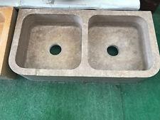 Lavello cucina a due vasche in pietra naturale travertino cm 90x46x18