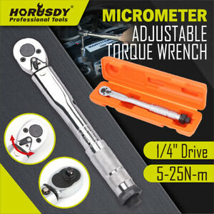 """1/4"""" Drive Click Torque Wrench 5-25NM Ratchet Spanner Adjustable Hand Repair New"""