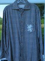 Robert Graham Men Cotton Checks Embroidered Lion Flannel Casual Shirt Medium EUC