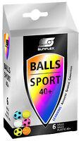 6 SUNFLEX Sportmotive  Tischtennis-Bälle bunt bedruckt Tischtennisbälle neu OVP
