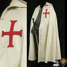 MEDIEVAL KNIGHT CRUSADER TEMPLAR Natural Off White Wool Blend CAPE CLOAK New