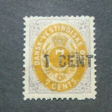 CLASSIC 1 CENT ON 7 CENTS VF MLH DWI DENMARK DANMARK WEST INDIES W9.27 0.99$
