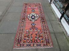Vintage Worn Traditional Hand Made Oriental Pink Red Wool Long Runner 263x99cm
