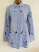 NEW WAREHOUSE RRP £39.00 Floral Embroidered Cotton Blue Striped Shirt Blouse Top