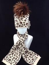 Sombrero de Invierno señoras Estampado De Leopardo Y Bufanda Conjunto Pom Pom Código: whsmc 01