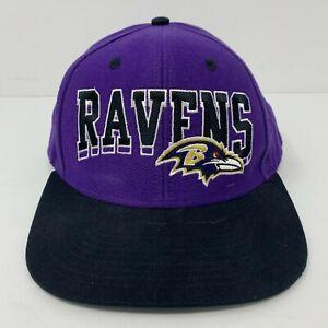 Baltimore Ravens Hat NFL Snapback Embroidered Logo Black & Purple Reebok OSFA