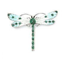 Gorgeous Emerald Color Green Crystal Dragonfly Pin Brooch G296
