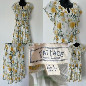 FAT FACE WHITE YELLOW & GREEN FLORAL FIT & FLARE SHORT SLEEVE DRESS SIZE 8 LINED