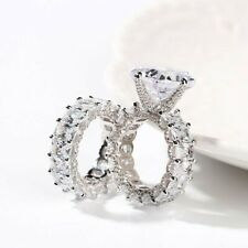 925 Sterling Silver Cushion CZ Studded Basket Fine Wedding Bridal Ring with Band