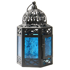 Blue Moroccan Lantern M&W NewBlue Moroccan Lantern Tea Light Candle Holder