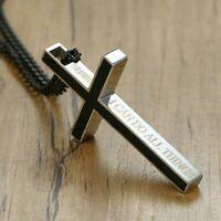 Stainless Steel Cross Catholic Bible Crucifix Pendant Necklace Christ Jesus Mens