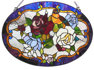 ROSES & LOVE BIRD Butterfly Tanager Parrot Suncatcher STAINED GLASS WINDOW PANEL