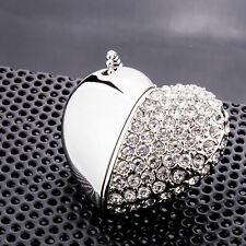 16GB Heart Shape Crystal USB Flash Drive Necklace Memory Stick Thumb Drive Gift