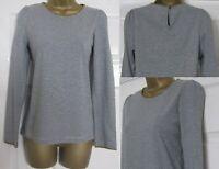 NEW White Stuff Ladies Grey Stripe Cotton Top Jersey Long Sleeve Crochet Trim