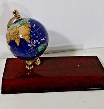 """Gemstone Globe 3.5"""" Lapis Blue Oceans Brass Holder Desktop Wood Base World Globe"""