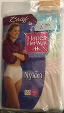 New Vintage Nylon Panties Hanes Her Way Briefs 3 Pair Sz 6 1995 Cotton Crotch