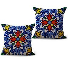 US SELLER, set of 2 Mexican Spanish talavera cushion cover chair cushions indoor