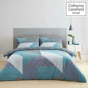 Catherine Lansfield Larsson Geo Easy Care Single , Double Or King Duvet Set Teal