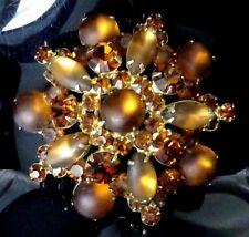 Vintage 1960s Delizza & Elster JULIANA Glass & Rhinestone Brooch Statement Pin