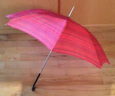 Vintage Pinkish/Red & Black Striped Umbrella Parasol With Black Wooden Handle